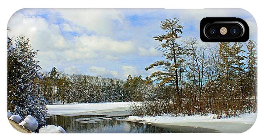 Winter Snow IPhone X Case featuring the photograph Oriental Powder Mills Lake by Catherine Melvin