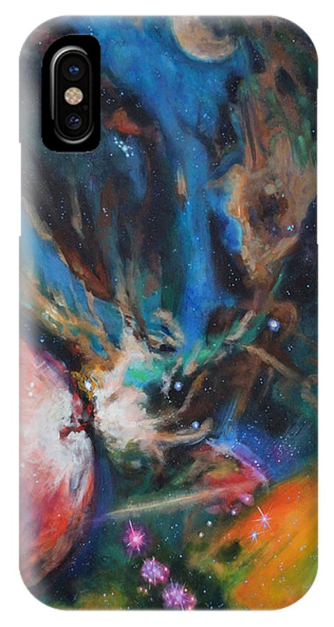 Art IPhone X Case featuring the painting Orion Nebula by Toni Wolf