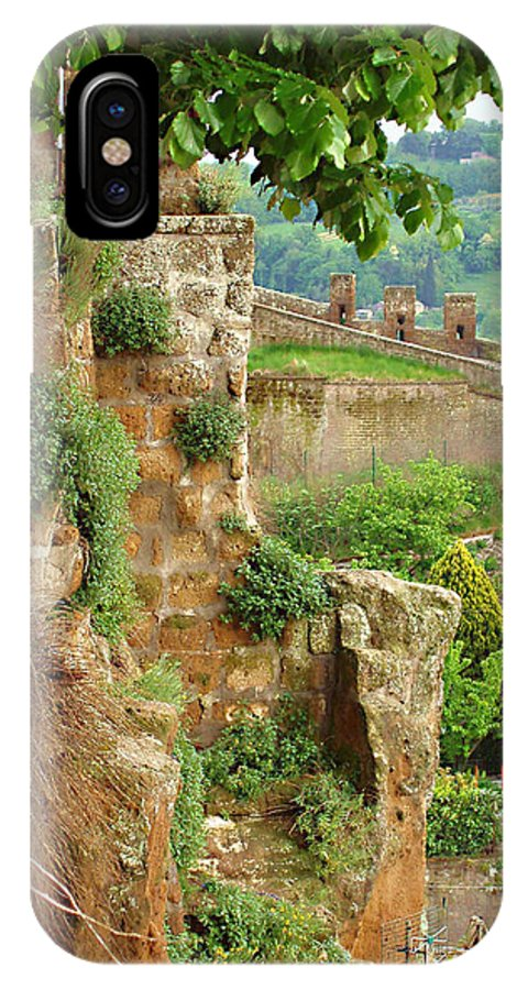 Orvieto Battlement IPhone X Case featuring the photograph Orvieto Battlement by Ellen Henneke