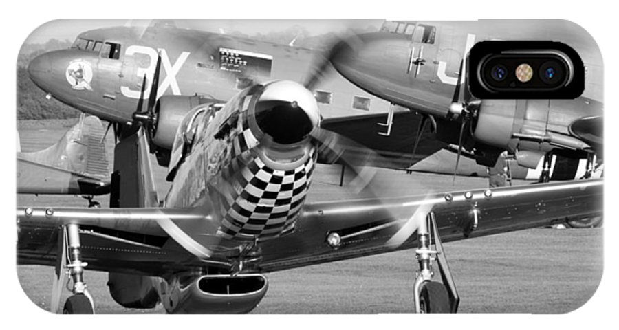 Mustang IPhone X Case featuring the photograph Our American Friends - Mustang And C-47 Troop Carriers by Ian Collins