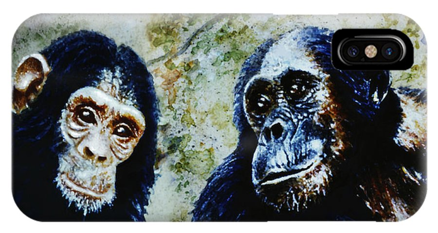 Chimpanzees IPhone X Case featuring the painting Our Closest Relatives by Hartmut Jager