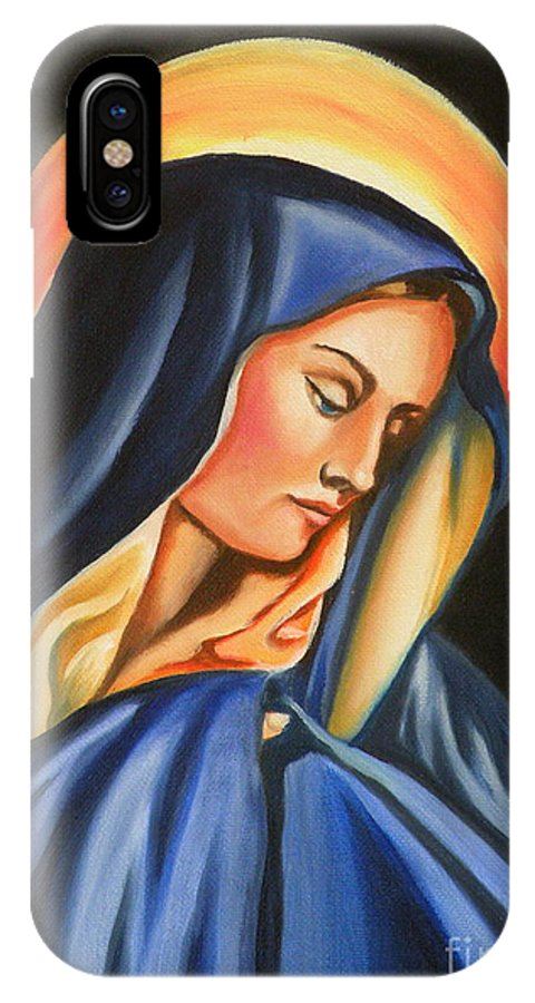 Our Lady Of Sorrows IPhone X Case featuring the painting Our Lady Of Sorrows by Lora Duguay