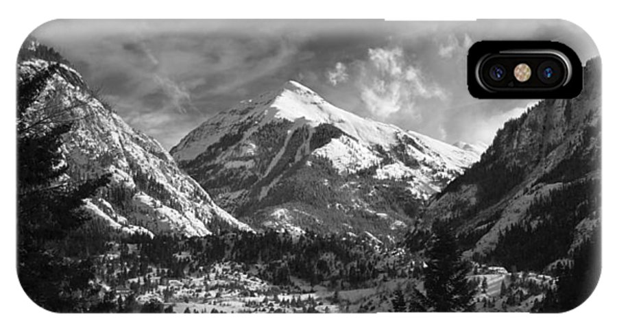Elevation High Rugged Amazing Brett Pfister Ouray Black White B&w Town Ski IPhone X Case featuring the photograph Ouray Colorado by Brett Pfister