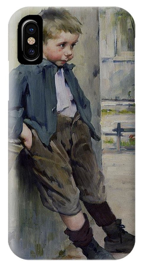 Out Of The Game (oil On Canvas) Hors Concours; Male; Boy; Child; Portrait; Cute; Full Length; Standing; Young; 19th; 20th; Outdoors; Street; Leaning; Basket; Hands In Pockets; Scruffy; Dishevelled; Waiting; Hors-concours; Out Of The Game; Left Out; Excluded; Exclusion; Sulking; Outcast; Sad; Melancholy; Sheepish; Henri Jules Jean Geoffroy IPhone X Case featuring the painting Out Of The Game by Henri Jules Jean Geoffroy