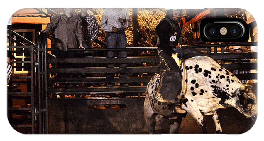 Bull Riding IPhone X Case featuring the photograph Out Of The Gate by Tommy Anderson