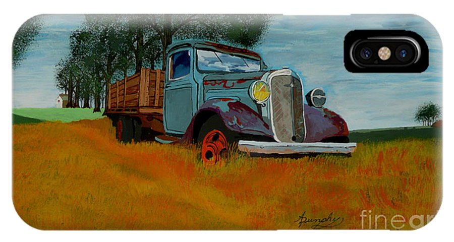 Truck IPhone X / XS Case featuring the painting Out To Pasture by Anthony Dunphy