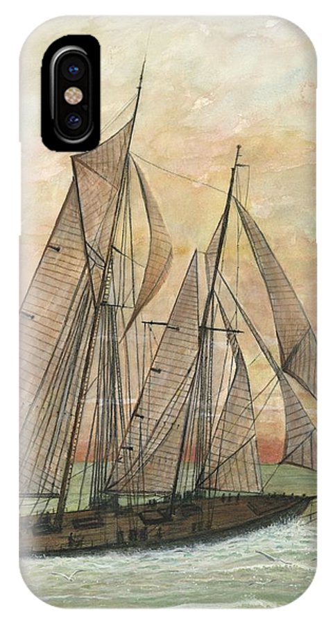 Sailboat; Ocean; Sunset IPhone X Case featuring the painting Out To Sea by Ben Kiger