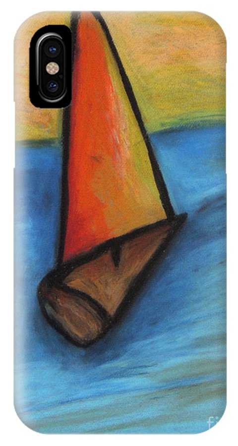 Sail Boat IPhone Case featuring the pastel Out To Sea by Jon Kittleson