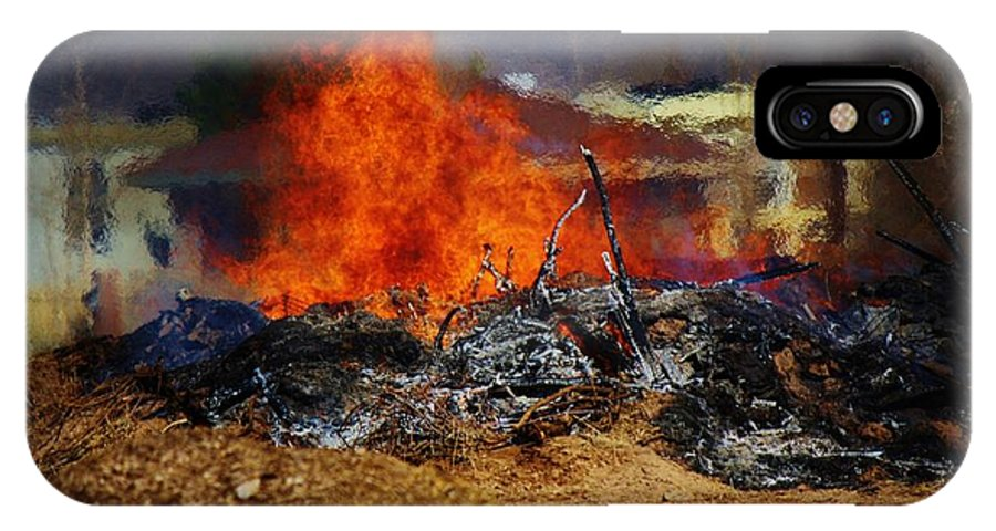 Fire IPhone X Case featuring the photograph Out With The Old by Jessica Shelton