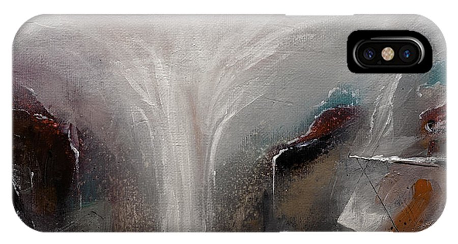 Waterscape Painting IPhone X / XS Case featuring the painting Outpour 2 Modern Waterscape Original Painting On Canvas by Gray Artus