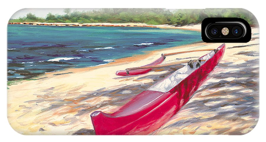 Outrigger IPhone Case featuring the painting Outrigger - Haleiwa by Steve Simon
