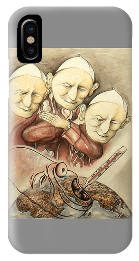 Cartoon+art IPhone X / XS Case featuring the drawing Over-pope-ulation - Cartoon Art by Peter Potter
