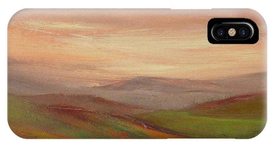 Landscape IPhone X / XS Case featuring the painting Over The Valley by Hazel Millington