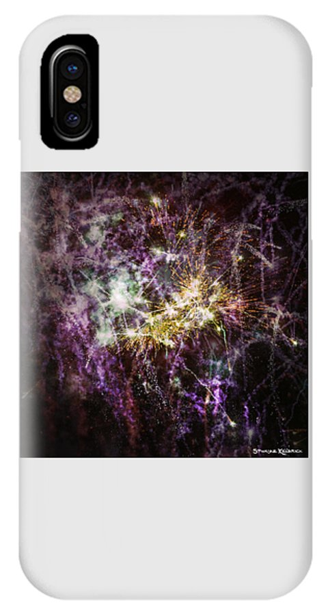Fireworks IPhone X Case featuring the photograph Overprinted Fireworks by Stwayne Keubrick