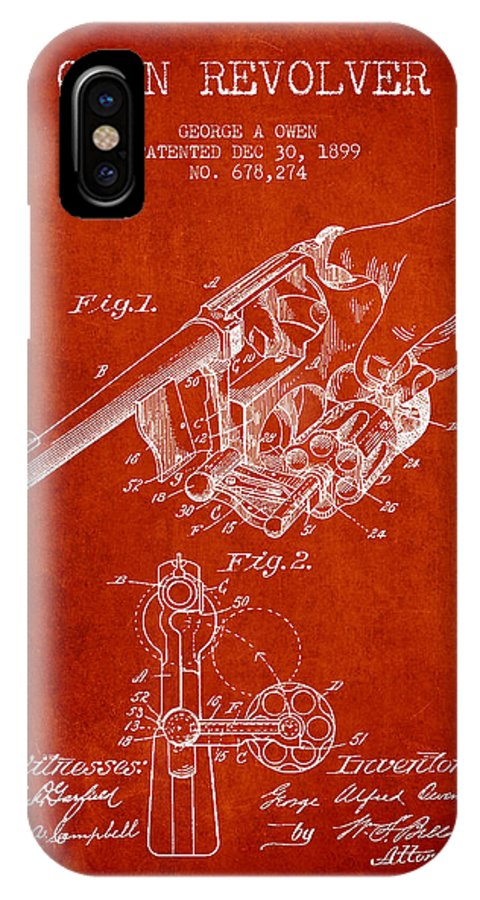 Revolver Patent IPhone X / XS Case featuring the digital art Owen Revolver Patent Drawing From 1899- Red by Aged Pixel