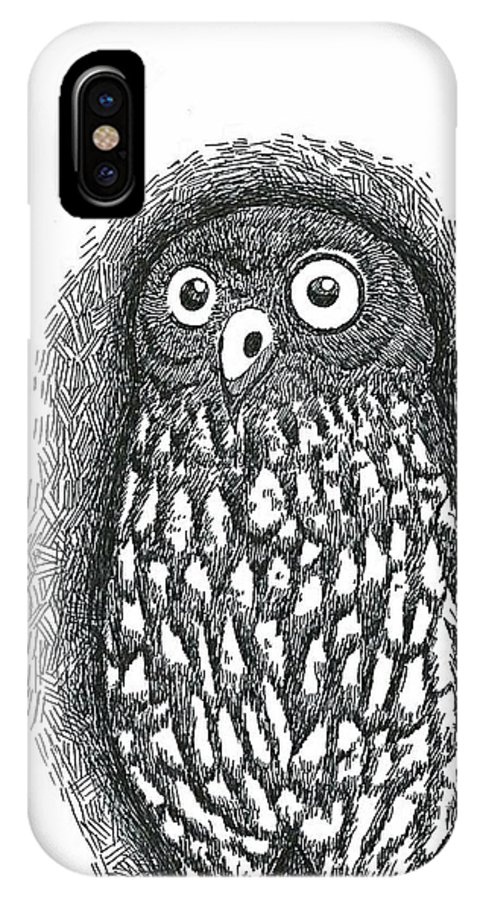 Owl IPhone X Case featuring the drawing Owl by Soh You Shing