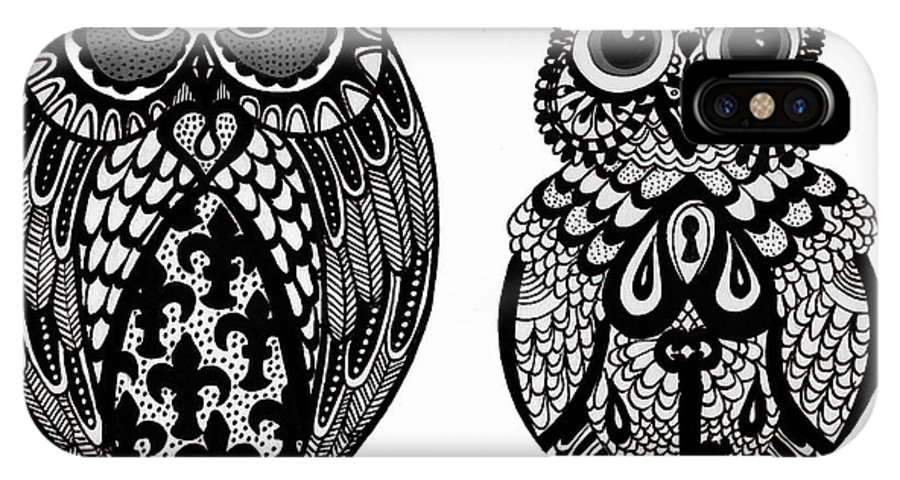 Owl IPhone X Case featuring the drawing Owls 10 by Karen Larter