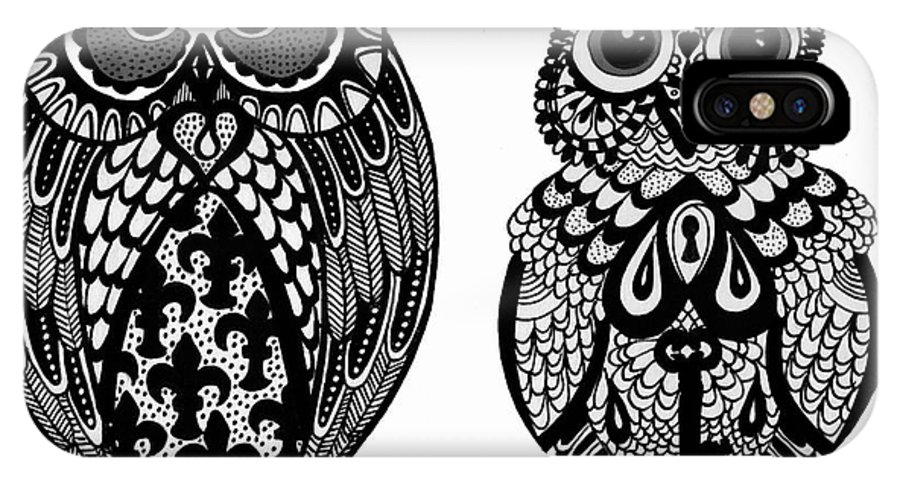 Owl IPhone X Case featuring the drawing Owls 9 by Karen Larter