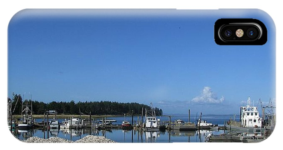 Oysterville IPhone X Case featuring the digital art Oysterville Port by Jeff Wilson