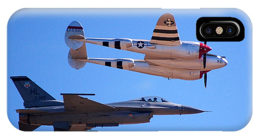 Lockheed P-38 Lightening IPhone X / XS Case featuring the photograph P-38 And Jet by Debra Thompson