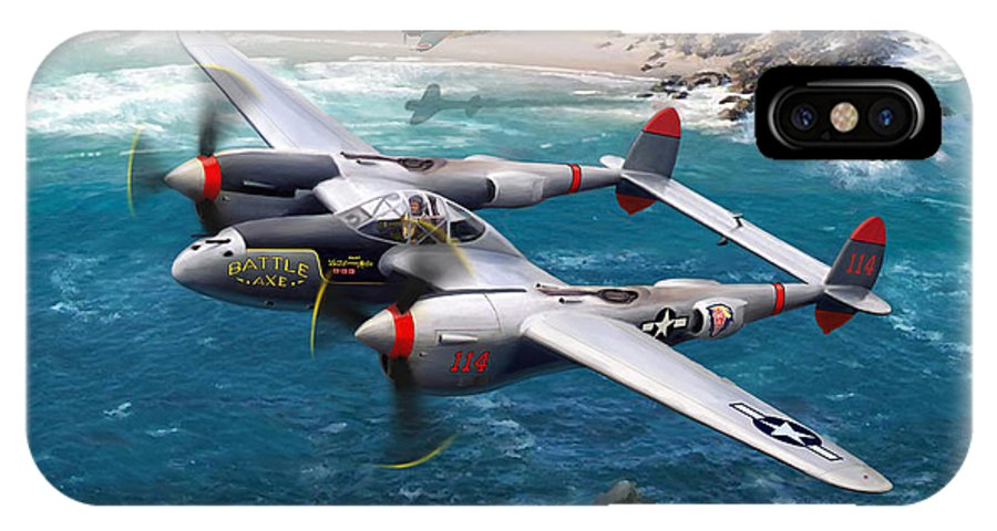 Airplanes IPhone X / XS Case featuring the painting P-38 Lightning Battle Axe by Mark Karvon