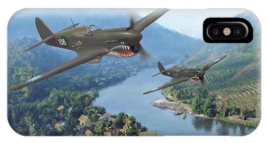 Airplanes IPhone X Case featuring the painting P-40 Warhawks of the 23rd FG by Mark Karvon