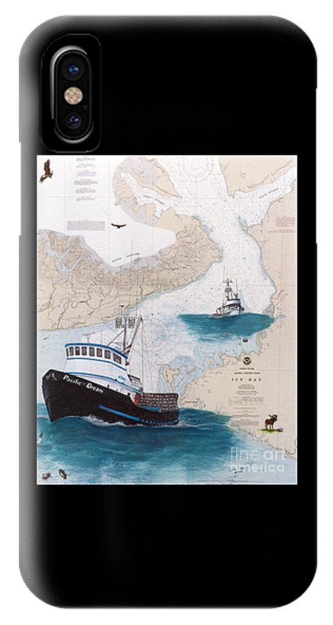 Pacific IPhone X / XS Case featuring the painting Pacific Dream Crab Fishing Boat Nautical Chart Art by Cathy Peek