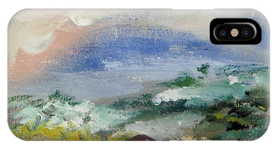 Beach IPhone X Case featuring the painting Pacific Rainbow by Edward Wolverton