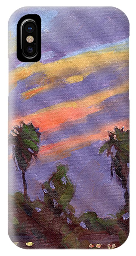 Sunset IPhone X Case featuring the painting Pacific Sunset 1 by Konnie Kim