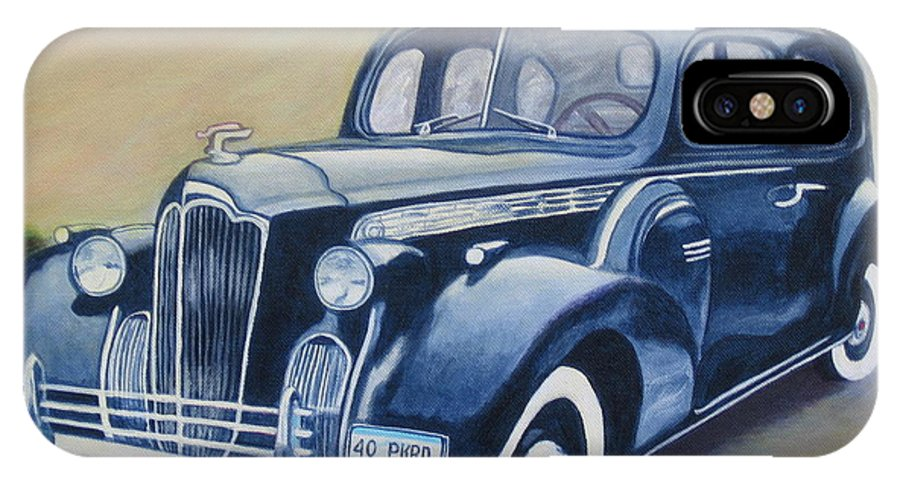 Roadster IPhone X Case featuring the painting Packard 1940 by Sandra A Haynes
