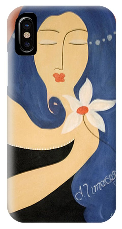 #female IPhone X Case featuring the painting Page by Jacquelinemari