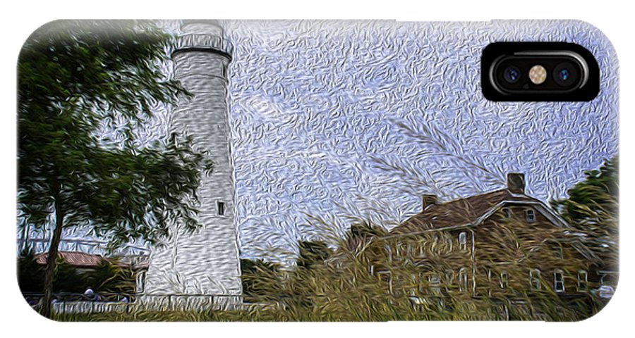 Usa IPhone X Case featuring the photograph Painted Fort Gratiot Light House by LeeAnn McLaneGoetz McLaneGoetzStudioLLCcom