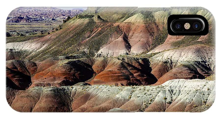Painted Desert Petrified Forrest National Park Arizona Parks Rock Mound Colored Clay Clays Sandstone Mounds Desert Deserts Hill Hills Mountain Mountains Desertscape Desertscapes Landscape Landscapes Landmarks Landmark IPhone X Case featuring the photograph Painted Hills by Bob Phillips