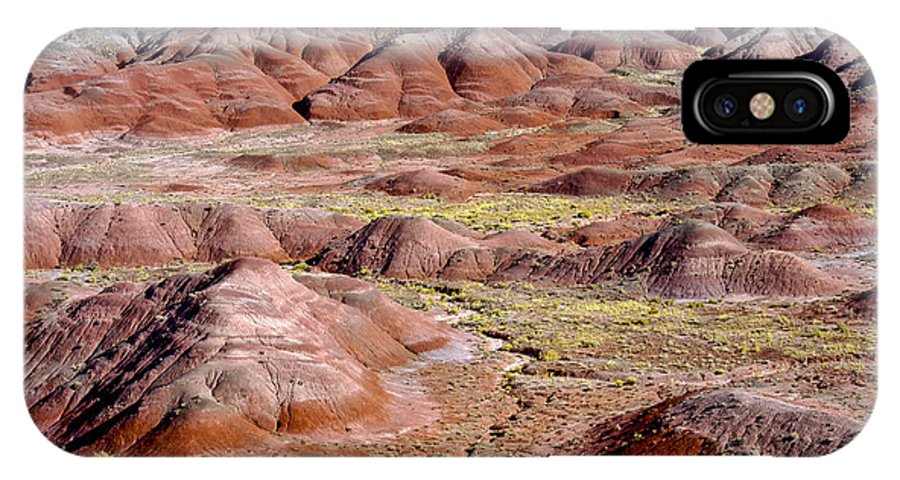 Painted Desert Petrified Forrest National Park Arizona Parks Rock Mound Colored Clay Clays Sandstone Mounds Desert Deserts Desertscape Desertscapes Landscape Landscapes Landmarks Landmark IPhone X Case featuring the photograph Painted Mounds by Bob Phillips