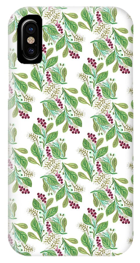 Nature IPhone X Case featuring the painting Painted Nature Coorsinating Foliage Leaves Pattern by MGL Meiklejohn Graphics Licensing