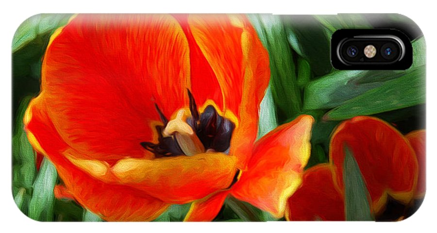 Andee Design Tulip IPhone X Case featuring the photograph Painterly Red Tulips by Andee Design