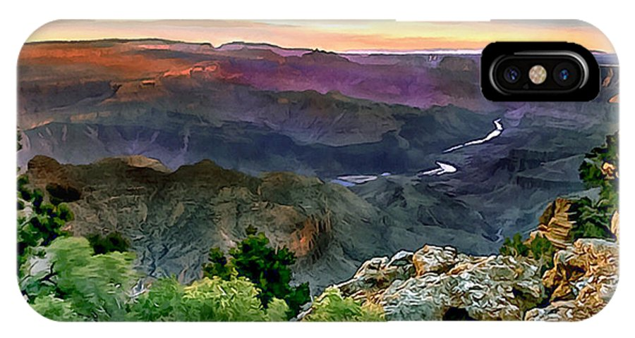 Abyss IPhone X Case featuring the painting Painting Of Desert View Grand Canyon by Bob and Nadine Johnston