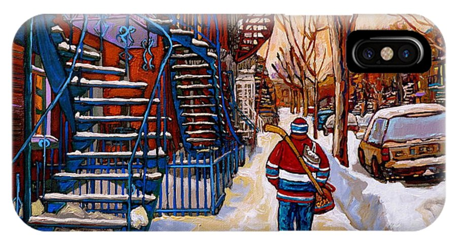 Montreal IPhone X Case featuring the painting Paintings Of Montreal Beautiful Staircases In Winter Walking Home After The Game By Carole Spandau by Carole Spandau