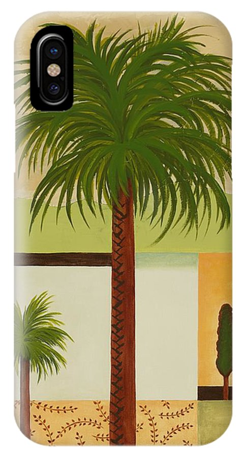 Palm Trees IPhone X Case featuring the painting Palm Desert by Carol Sabo