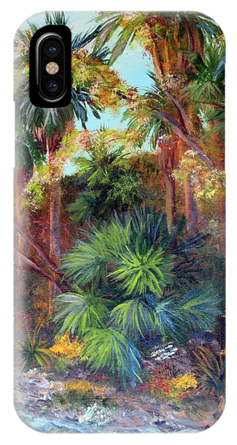 Landscape IPhone X Case featuring the painting Palm Oasis by Marlene Johnson