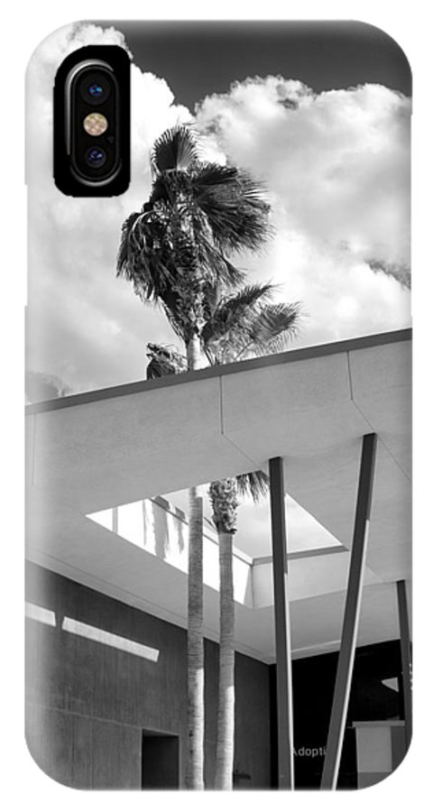 Desert IPhone X Case featuring the photograph Palm Springs Animal Shelter Palms Bw Palm Springs by William Dey