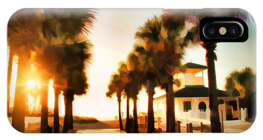 Palm Tree Florida Sunrise Jacksonville Beach Entrance IPhone X Case featuring the photograph Palm Tree Sunrise by Alice Gipson