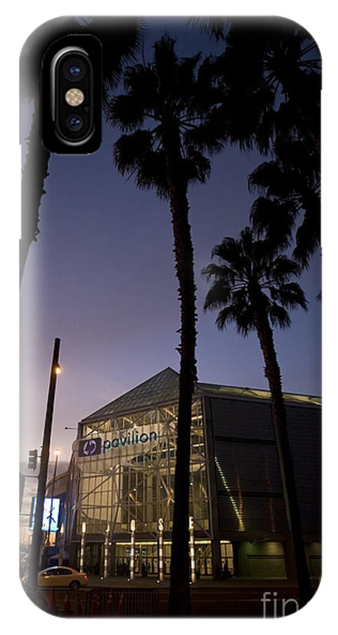 IPhone X Case featuring the photograph Palm Trees And Hp Pavilion San Jose At Night by Jason O Watson