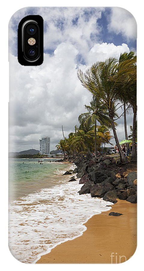 Idyllic IPhone X Case featuring the photograph Palms Trees Along Luquillo Beach by Bryan Mullennix
