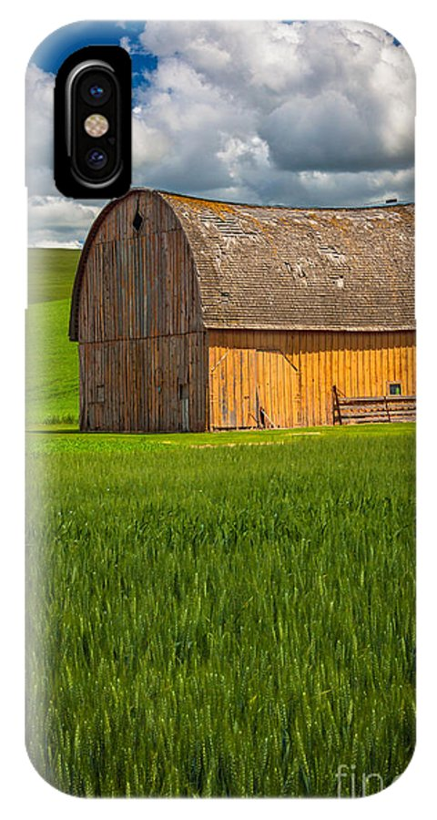 America IPhone X Case featuring the photograph Palouse Yellow Barn by Inge Johnsson