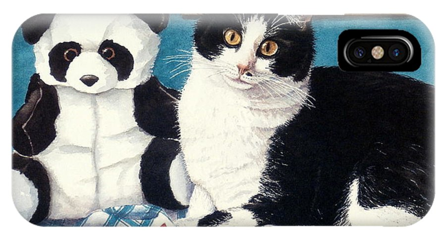 Feline IPhone X Case featuring the painting Panda Bear by Tina Buechner