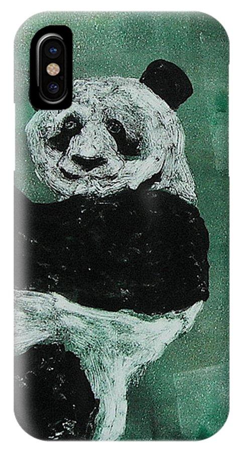 Panda IPhone X Case featuring the mixed media Panda - Monium by Cori Solomon