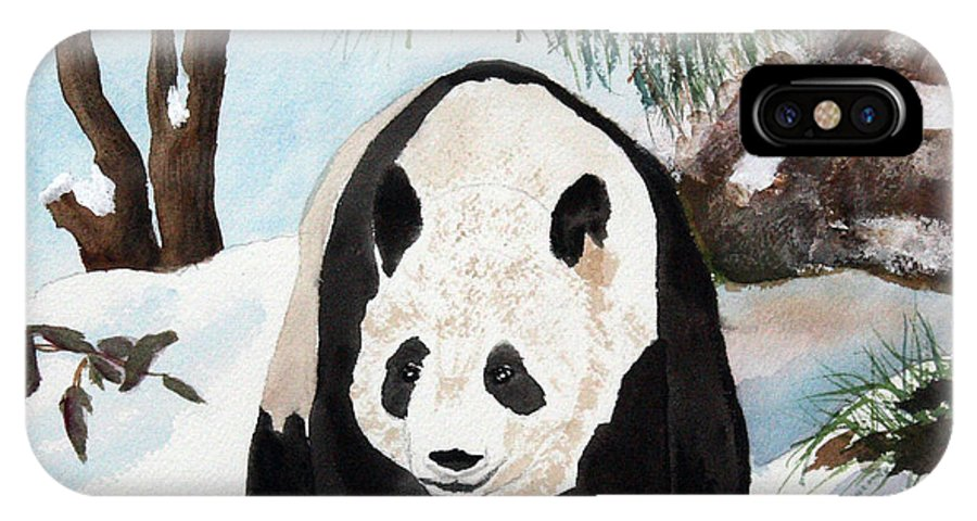 Panda IPhone X Case featuring the painting Panda On Ice by Patricia Novack