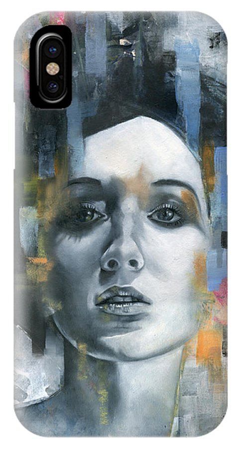 Face IPhone X Case featuring the painting Pandora by Patricia Ariel