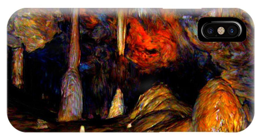Cave IPhone X Case featuring the painting Pano Of A Colorful Cave by Bruce Nutting
